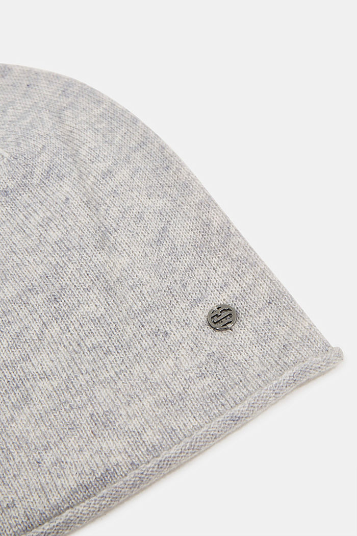 With cashmere: wool blend beanie, PASTEL GREY, detail image number 1