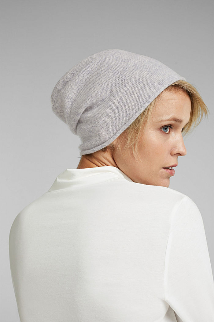 With cashmere: wool blend beanie, PASTEL GREY, detail image number 2
