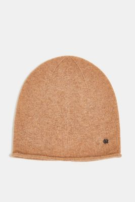 With cashmere: wool blend beanie, CAMEL, detail
