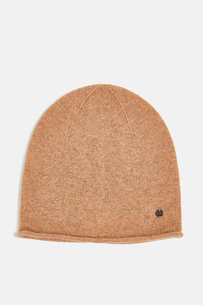 With cashmere: wool blend beanie