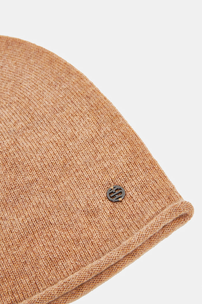 With cashmere: wool blend beanie, CAMEL, detail image number 1