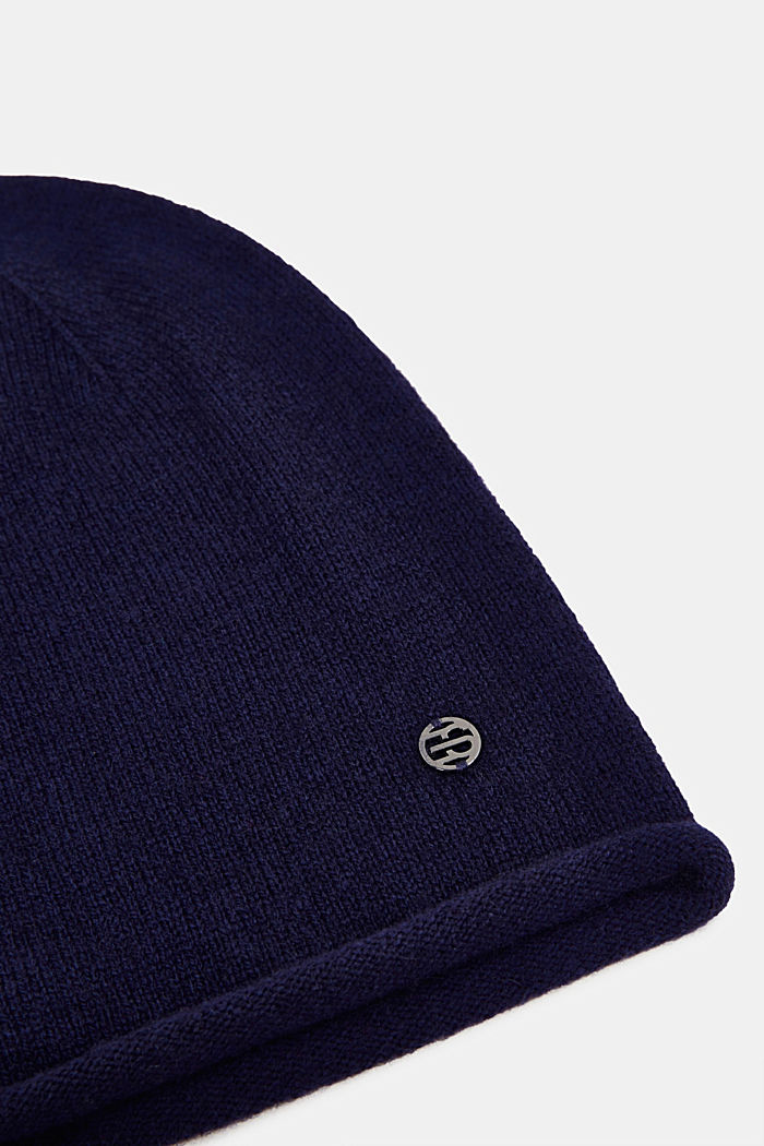 With cashmere: wool blend beanie, DARK BLUE, detail image number 1