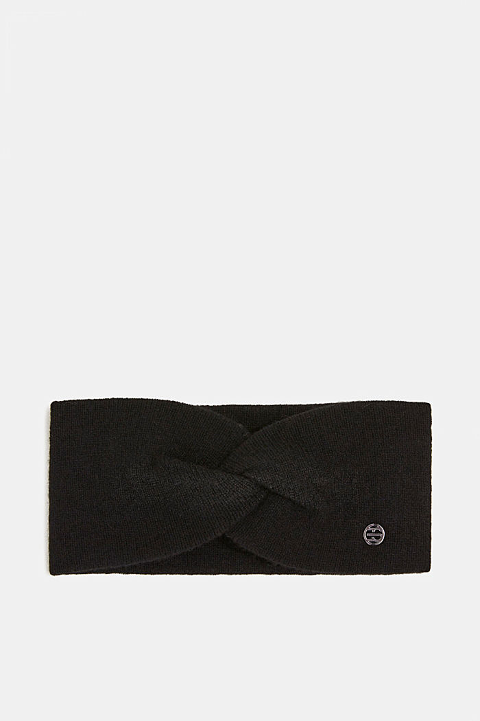 With cashmere: wool blend headband, BLACK, detail image number 0