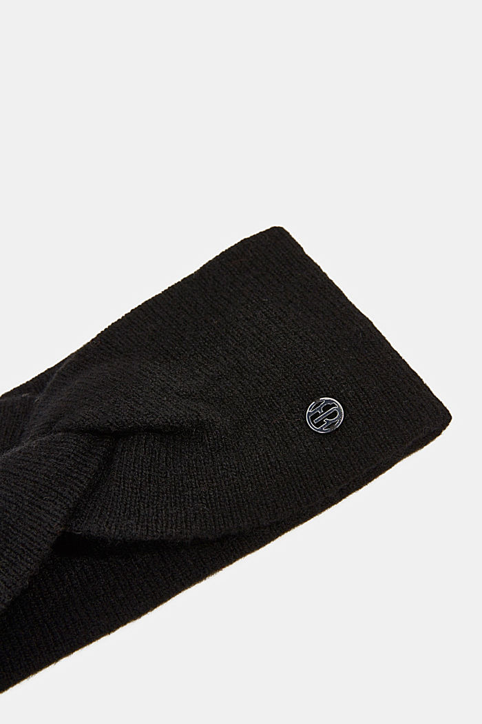 With cashmere: wool blend headband, BLACK, detail image number 1