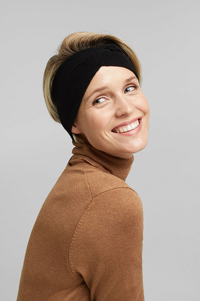 With cashmere: wool blend headband, BLACK, detail image number 2
