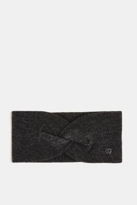 With cashmere: wool blend headband, DARK GREY, detail