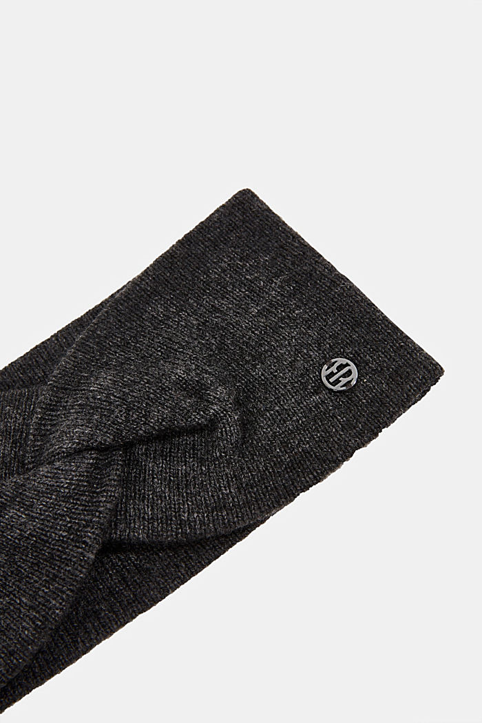 With cashmere: wool blend headband, DARK GREY, detail image number 1