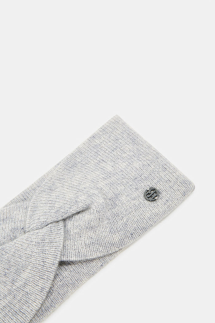 With cashmere: wool blend headband, PASTEL GREY, detail image number 1