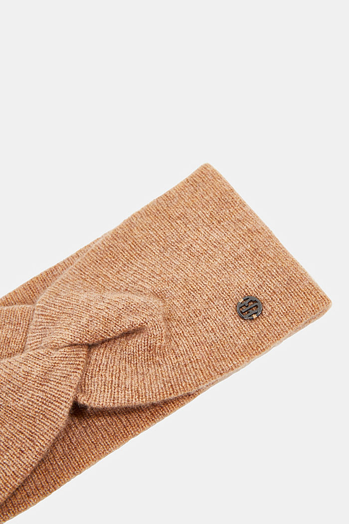 With cashmere: wool blend headband, CAMEL, detail image number 1