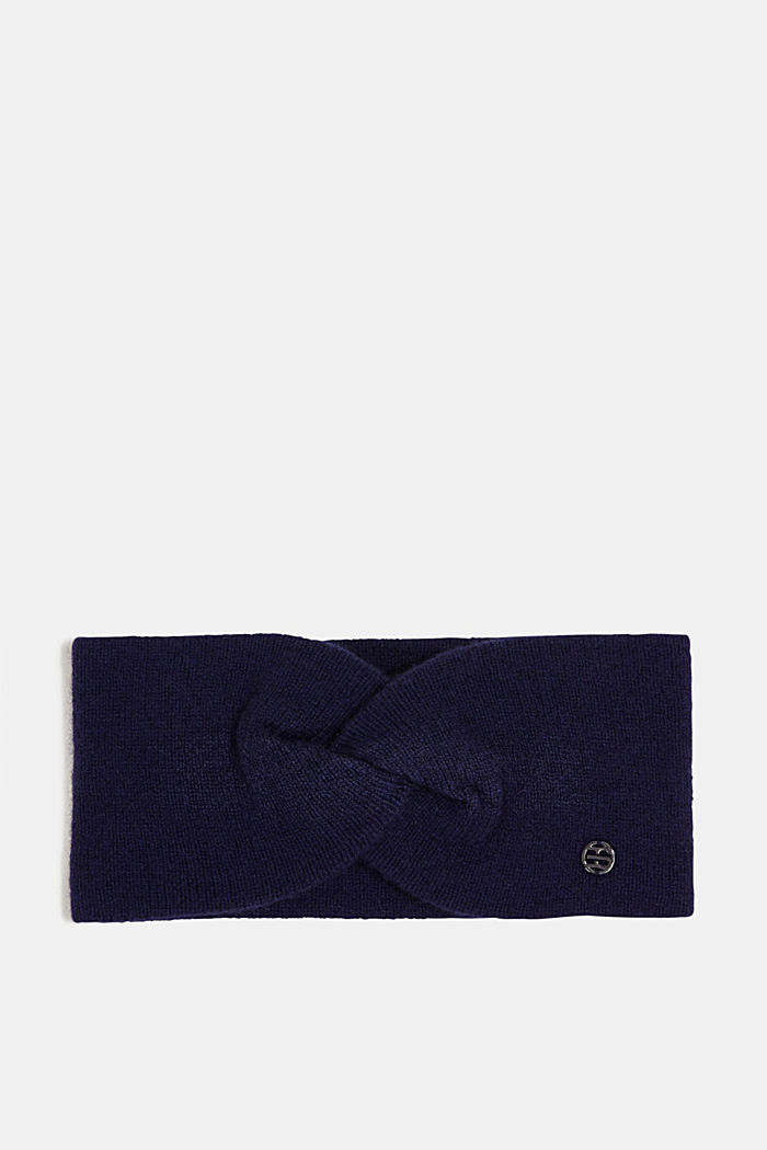 With cashmere: wool blend headband, DARK BLUE, detail image number 0