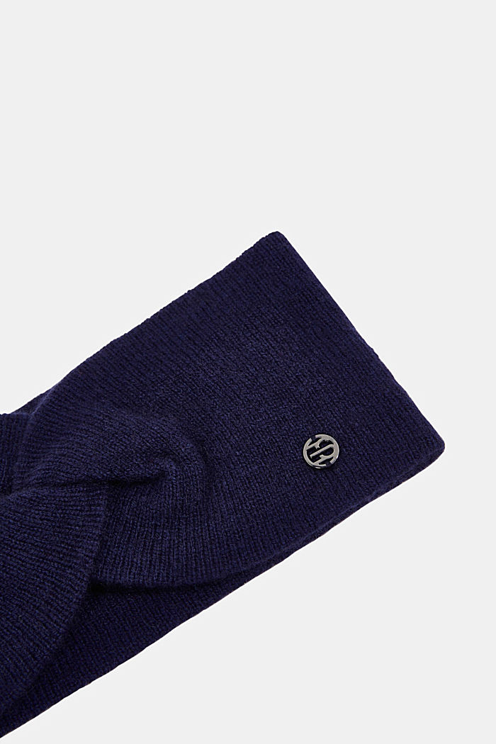 With cashmere: wool blend headband, DARK BLUE, detail image number 1