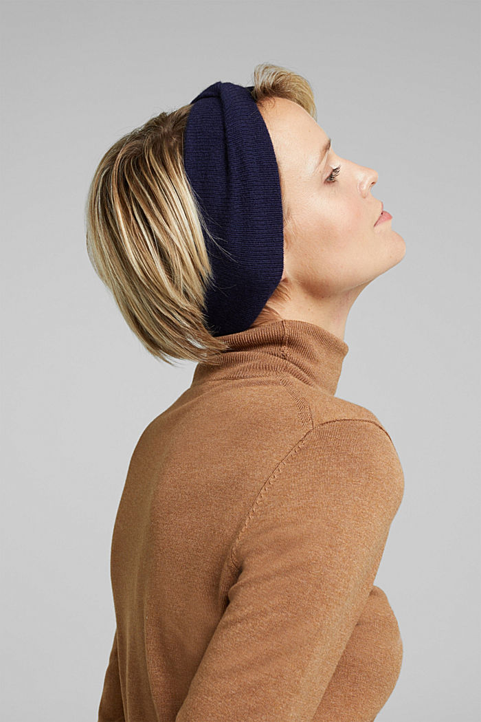 With cashmere: wool blend headband, DARK BLUE, detail image number 2