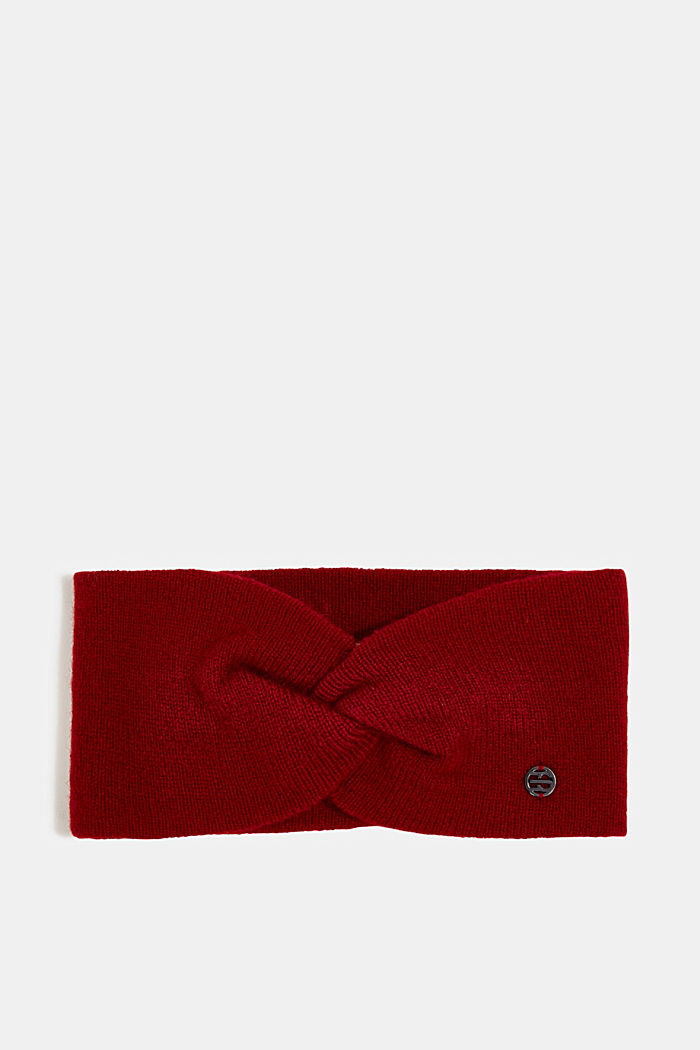 With cashmere: wool blend headband, RED, detail image number 0