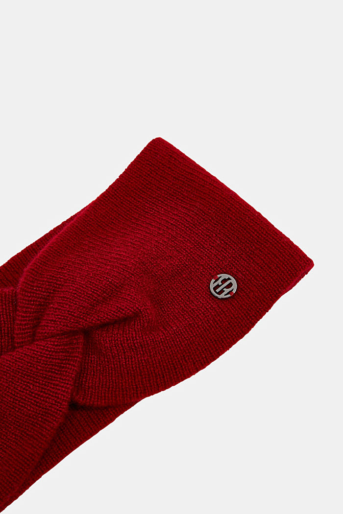 With cashmere: wool blend headband, RED, detail image number 1