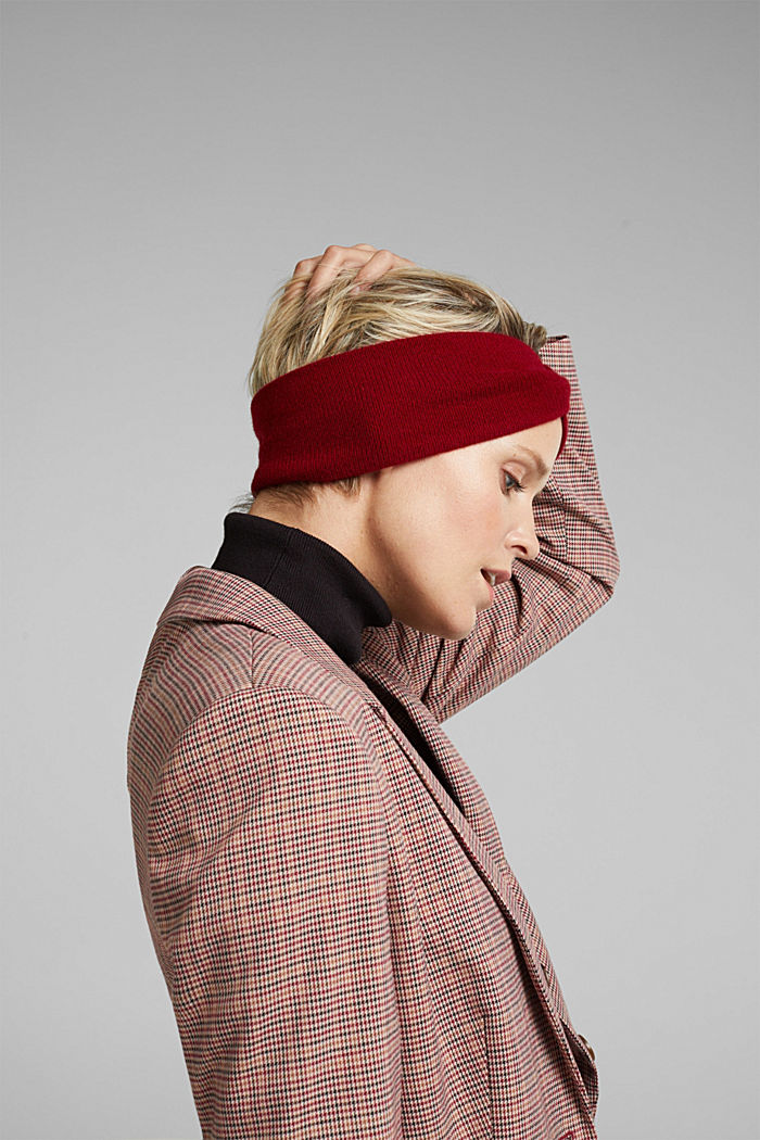 With cashmere: wool blend headband, RED, detail image number 2