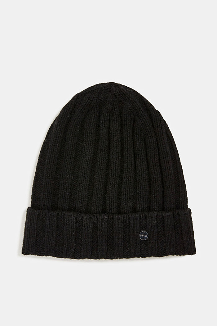 Recycled: cashmere hat, BLACK, detail image number 0