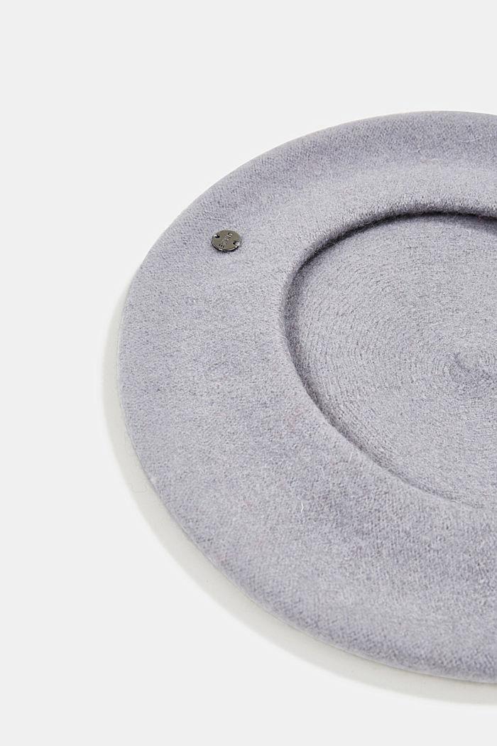 Blended wool beret, GREY, detail image number 1