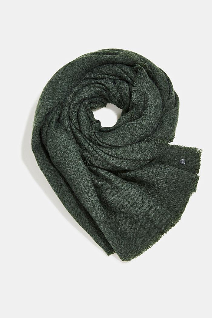 In materiale riciclato: sciarpa in tessuto effetto lana, DARK GREEN, detail image number 0
