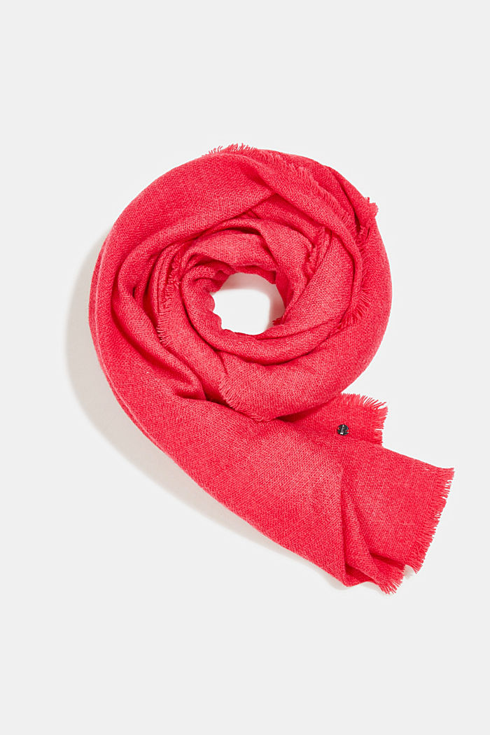 Recycled: Wool-effect woven scarf, PINK FUCHSIA, detail image number 0