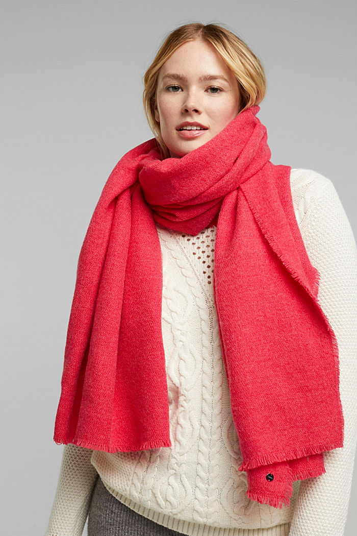 Recycled: Wool-effect woven scarf, PINK FUCHSIA, detail image number 1