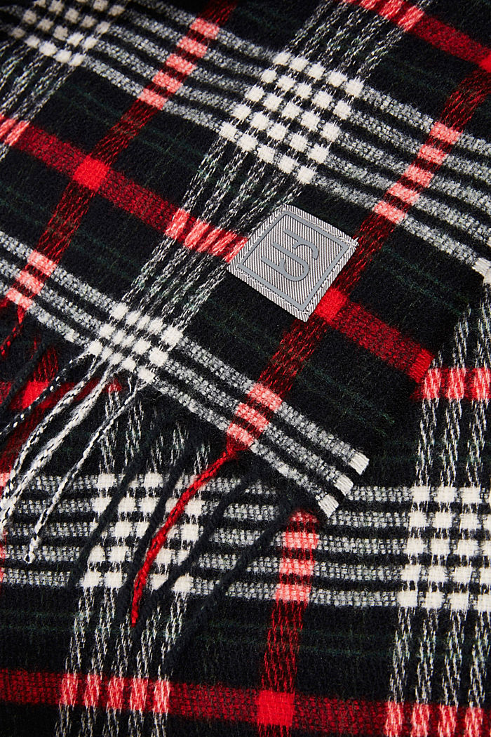 Recycled: Check scarf, BLACK, detail image number 2