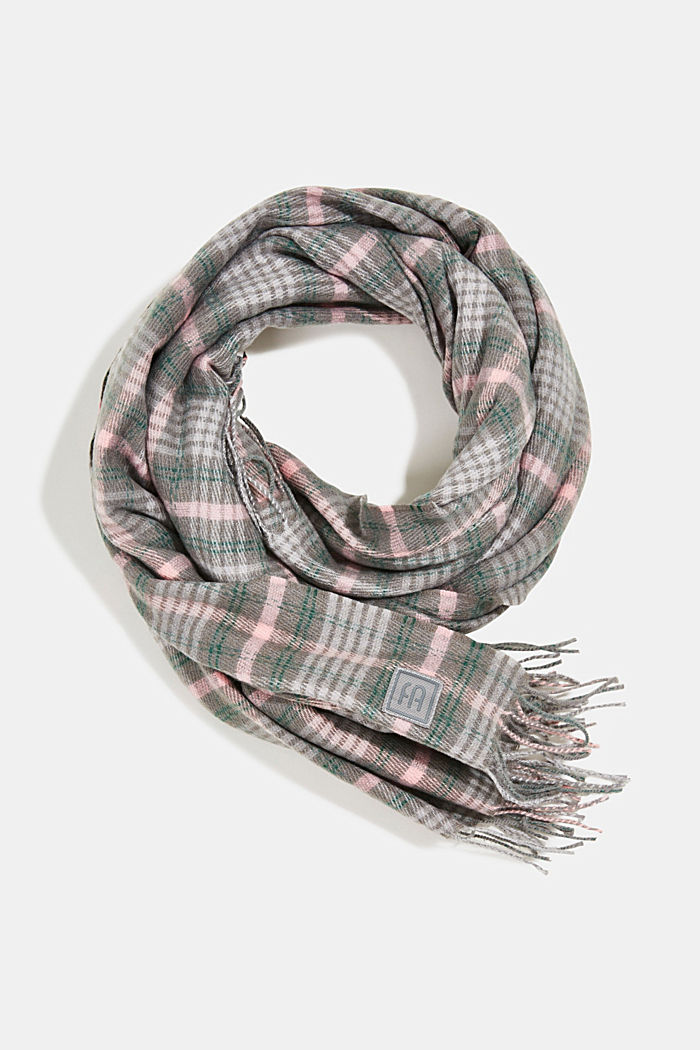 Recycled: Check scarf, MEDIUM GREY, detail image number 0