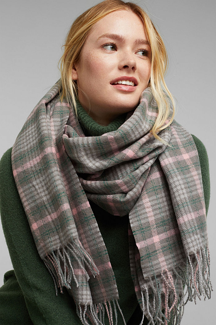 Recycled: Check scarf, MEDIUM GREY, detail image number 1