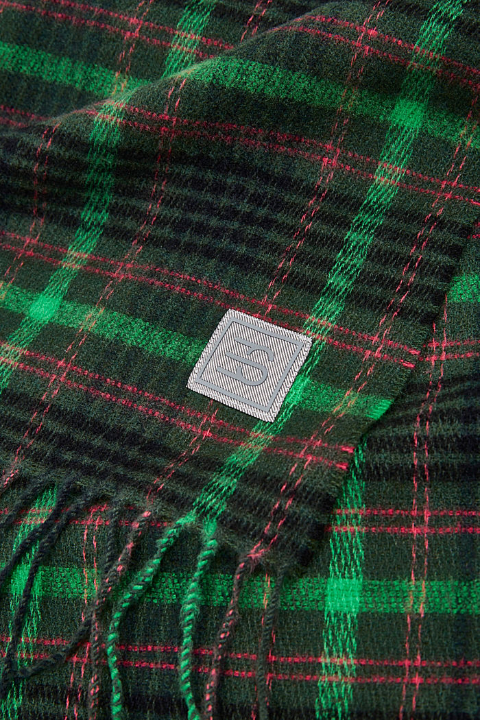 Recycled: Check scarf, DARK GREEN, detail image number 2