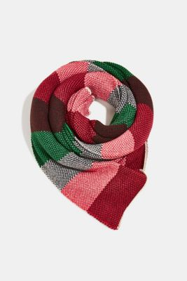 Recycled: knitted scarf with stripes, RED, detail