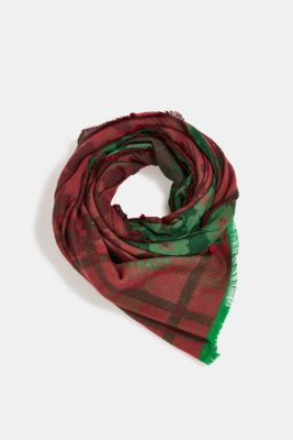 Woven scarf with LENZING™ ECOVERO™, DARK GREEN, detail