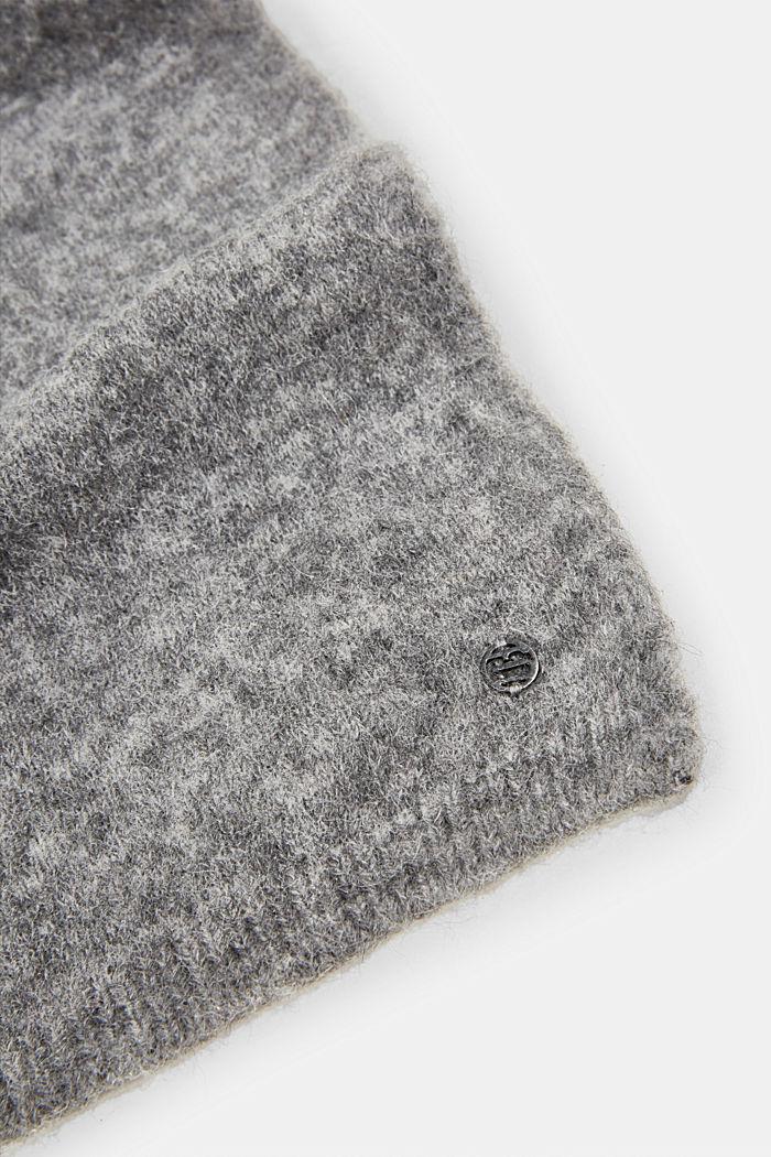 Wool blend: alpaca blend scarf, GUNMETAL, detail image number 2