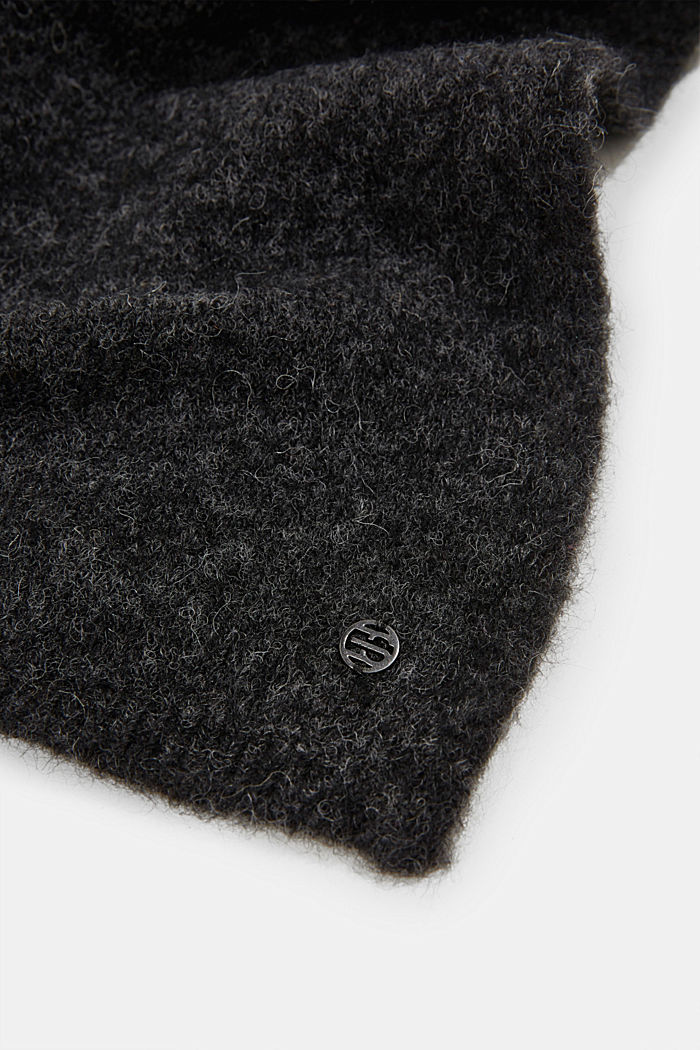 Wool blend: alpaca blend scarf, DARK GREY, detail image number 2