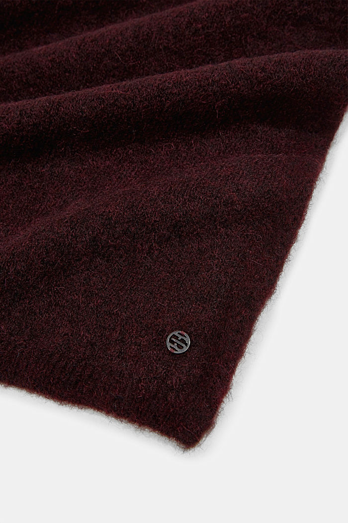 Wool blend: alpaca blend scarf, BORDEAUX RED, detail image number 2