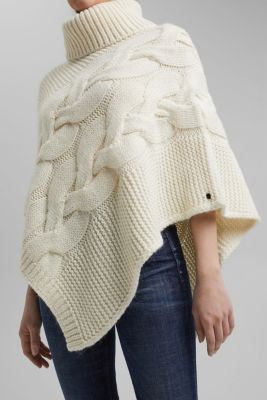 With wool/alpaca: chunky knit poncho, OFF WHITE, detail