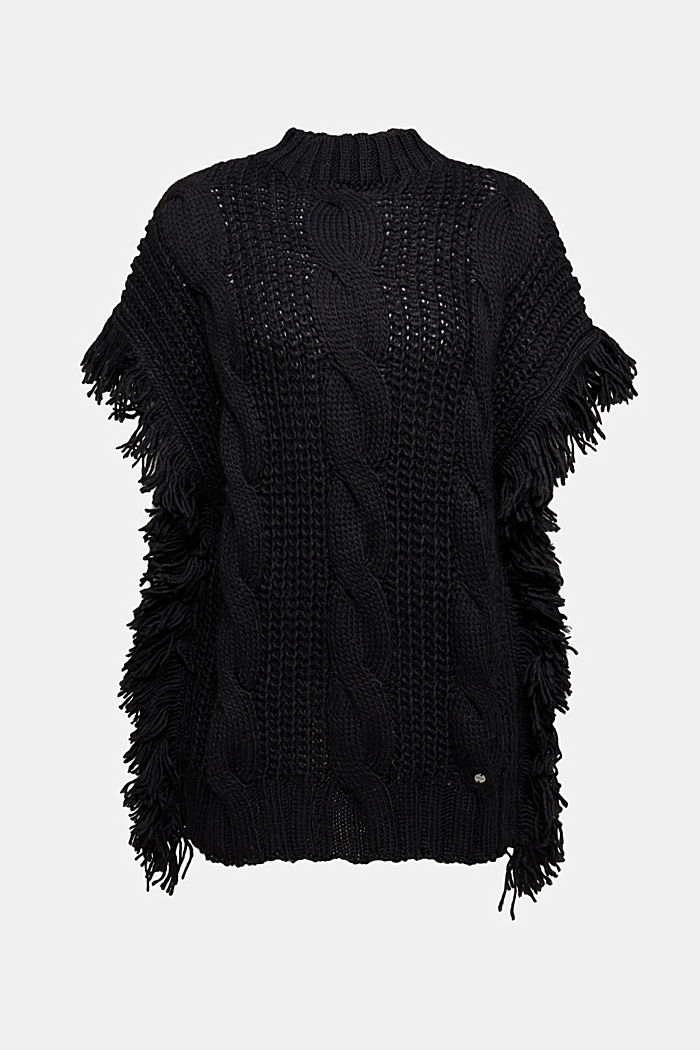 Knit poncho with alpaca, BLACK, detail image number 0