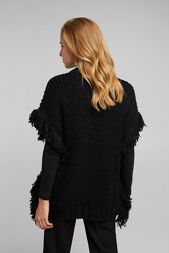 Knit poncho with alpaca, BLACK, detail image number 3