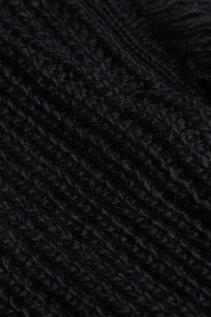 Knit poncho with alpaca, BLACK, detail image number 2
