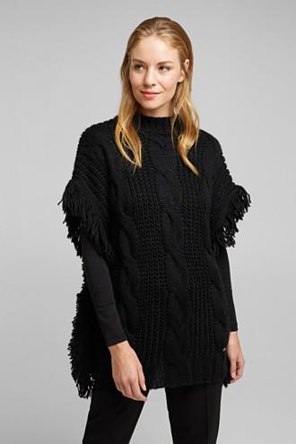 Knit poncho with alpaca