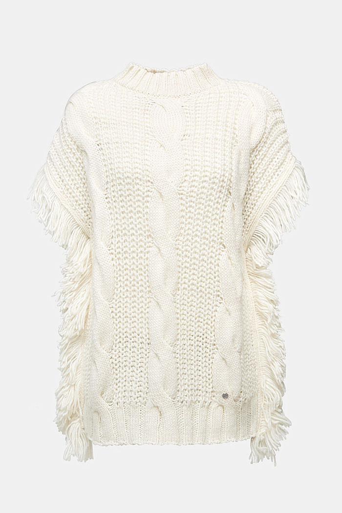 Knit poncho with alpaca, OFF WHITE, detail image number 0