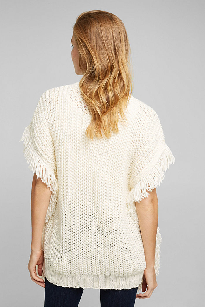 Knit poncho with alpaca, OFF WHITE, detail image number 3