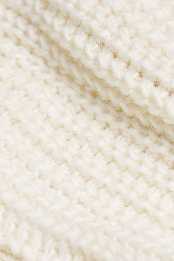 Knit poncho with alpaca, OFF WHITE, detail image number 2