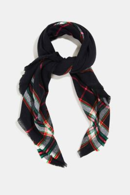 Recycled: checked scarf in a wool look, BLACK, detail