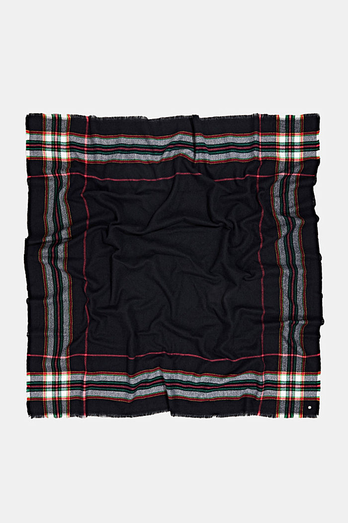 Recycled: checked scarf in a wool look, BLACK, detail image number 3