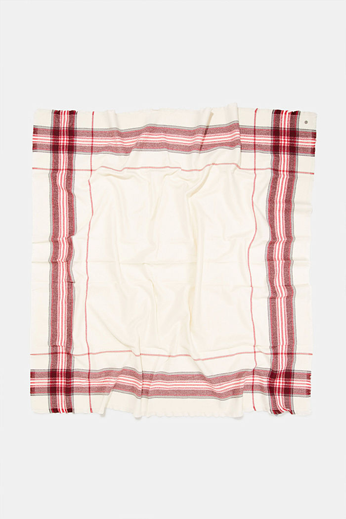 Recycled: checked scarf in a wool look, OFF WHITE, detail image number 3