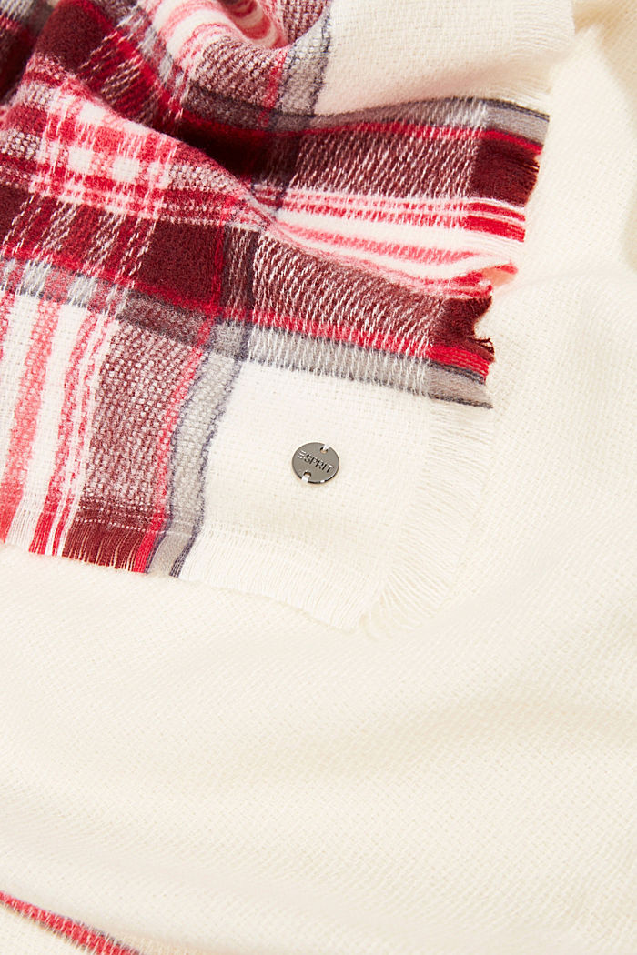 Recycled: checked scarf in a wool look, OFF WHITE, detail image number 2
