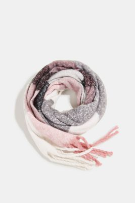 Recycled: Bouclé scarf in a colour block design, BLACK, detail