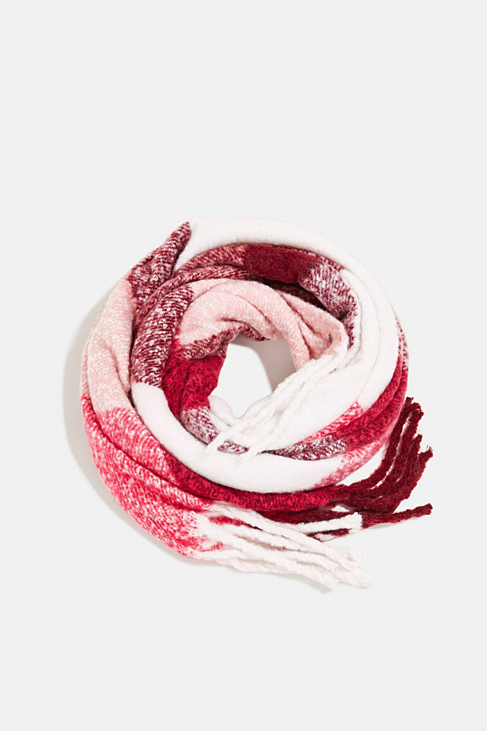 Recycled: Bouclé scarf in a colour block design, PINK FUCHSIA, detail image number 0