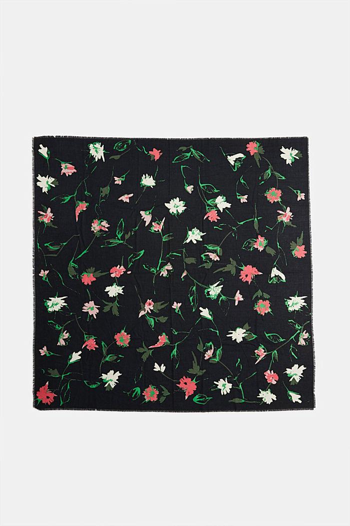 Recycelt: Square-Schal mit Blumen-Muster, BLACK, detail image number 3