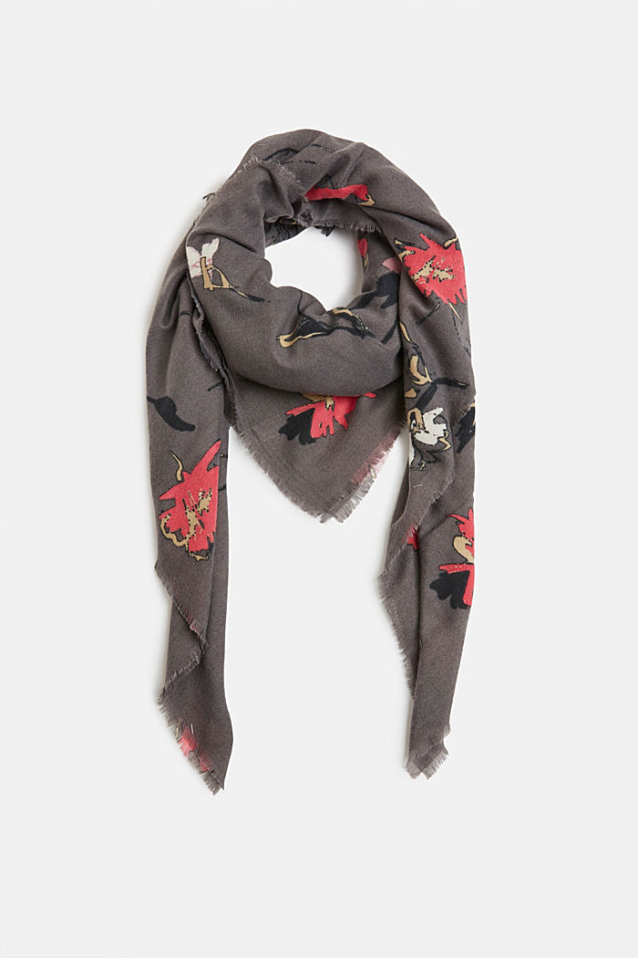 Recycled: square scarf with a floral pattern, GUNMETAL, detail image number 0