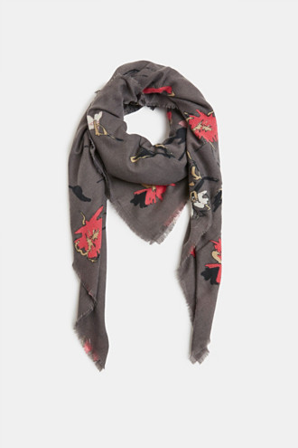 Recycled: square scarf with a floral pattern